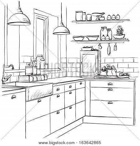 Kitchen interior drawing, vector illustration. Furniture sketch