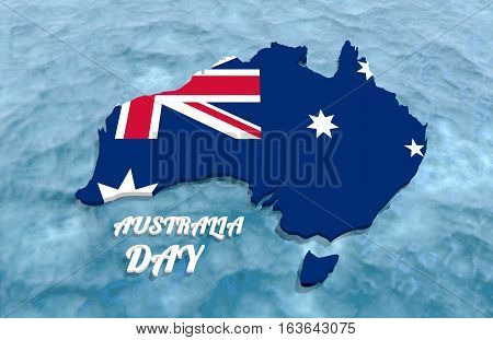 Map of Australia textured by national flag. Australia Day text. 3D rendering