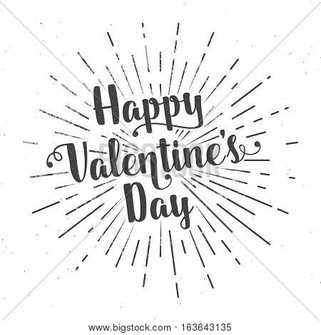 Happy Valentine's Day text and lettering. Vector Illustration. For greeting card, flyer, poster logo with text lettering, light rays of burst.