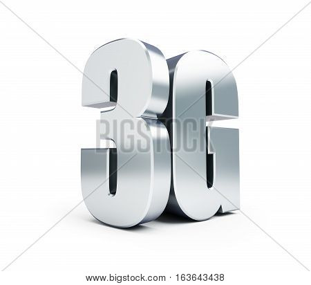 3G metal sign 3G cellular high speed data wireless connection. 3d Illustrations on white background