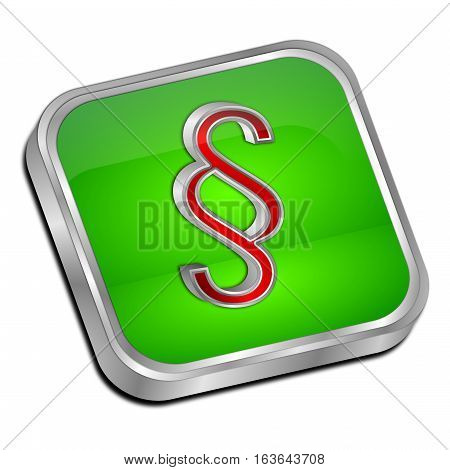 green Law paragraph button - 3D illustration
