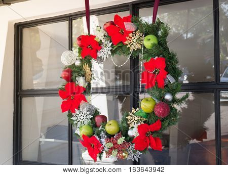 Christmas and new year seasonal beautiful decorated at home stock photo