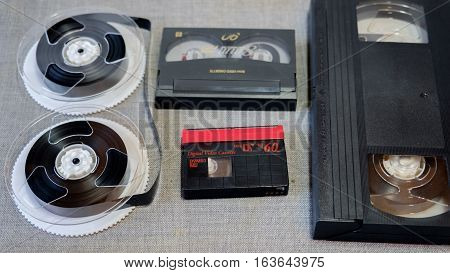 different cassette recording tape from the video tape recorder