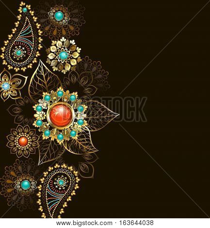 Ethnic pattern of gold and bronze decorated with turquoise and jasper on a dark background. Jewelry Design. Boho Style.