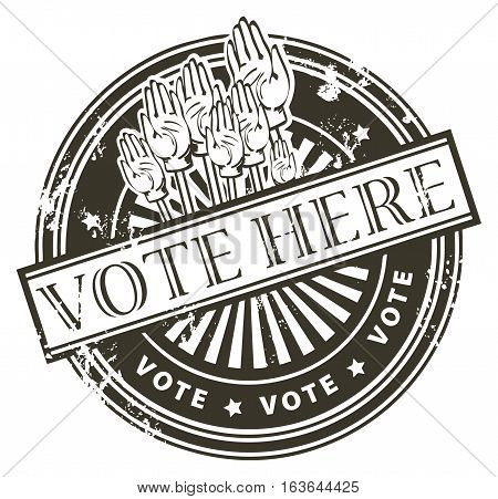 Grunge rubber stamp with the hands and the word vote here written inside the stamp, vector illustration