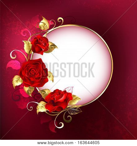Round white banner with red roses and golden leaves on red textural background. Design with red roses.