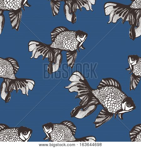 Abstract fish sketch seamless pattern, hand drawing, vector background, coloring book. White brown fish on a blue background. Decorative handmade element, for wallpaper design, fabric, textiles