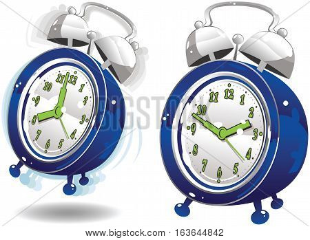 Two old fashioned blue alarm clocks - one ringing, and one quiet.