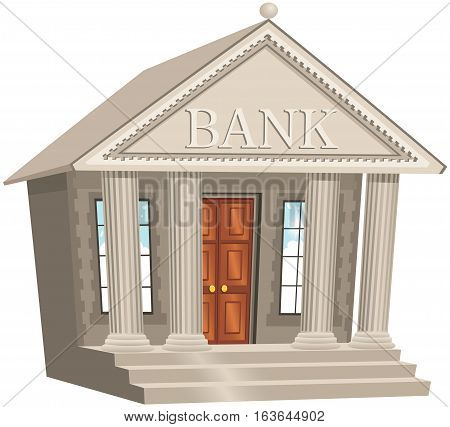 A cartoon version of a classical architecture bank building.
