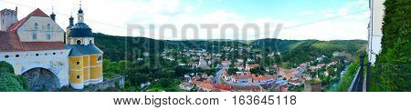 Panoramic wide angle top view at Vranov nad Dyji village in Czech Republic. The view at village from the top of the Vranov nad Dyji castle.