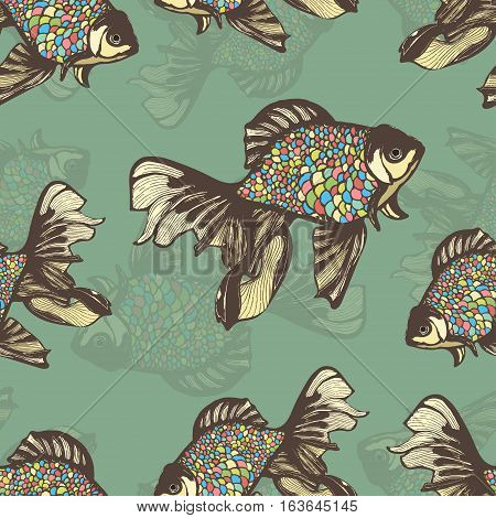 Abstract fish hand drawing seamless pattern, vector background. Decorative fish with motley multicolored scales on a green background. Decorative handmade element, for wallpaper design, fabric