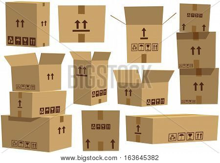 Various stacks of empty brown cardboard boxes.