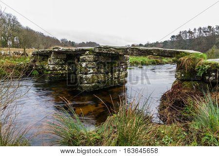 Fine example of Clapper Bridge. Postbridge Dartmoor Devon England United Kingdom.