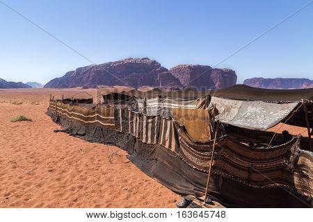 Bedouin camp in Wadi Rum desert Jordan