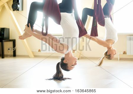 Two young yogi women doing aerial yoga practice in purple hammocks in fitness club. Beautiful happy females working out, performing aero yoga in class. Variation of eka pada chakrasana pose