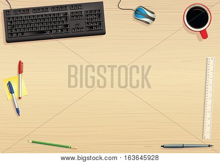 An overhead view of a typical desk, including keyboard, coffee mug and pens. Plenty of space for your own objects.