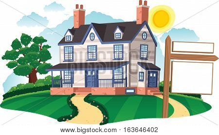 An image of an old fashioned colonial style detached house and realty sign. Realty sign is blank for your own message.