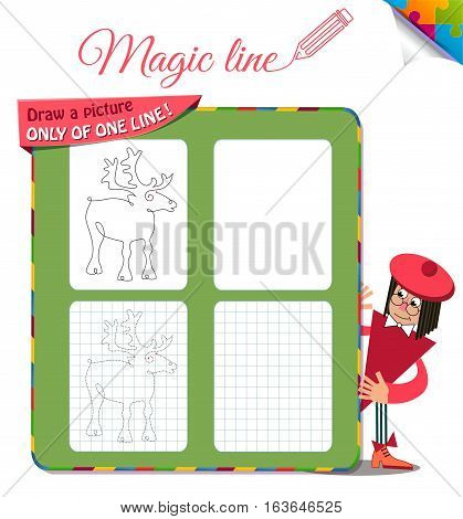 Visual Game for children. Coloring book education. Task: Draw a picture only of one line deer
