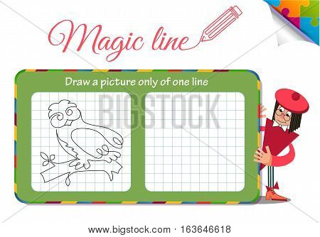 Visual Game for children. Coloring book education. Task: Draw a picture only of one line owl