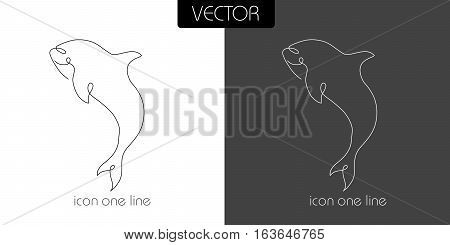 Fish, Shark, Dilfin, Orca Icon On White And Black