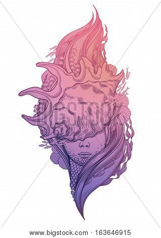 Graphic mermaid head with seashell on her face and seaweed decorations. Tattoo art or t-shirt design. Vector illustration in pink and blue colors
