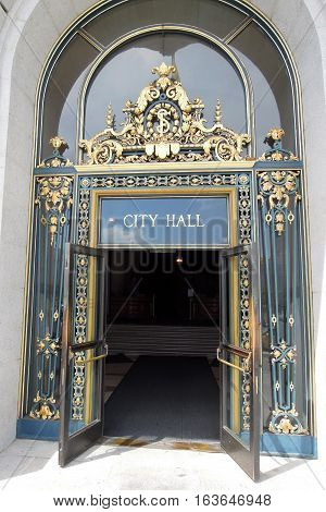 Open entrance to beautiful City Hall San Francisco California