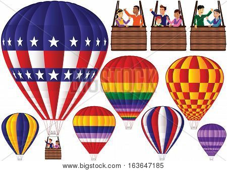 Different air balloons and gondolas - gondolas can be resized and matched with different balloons to make unique combinations.