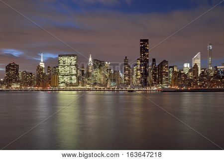 A night view of the Manhattan skyline.