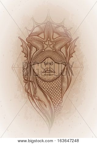 Graphic mermaid head with starfish on her face and seaweed decorations. Tattoo art or t-shirt design. Vector illustration isolated on vintage background