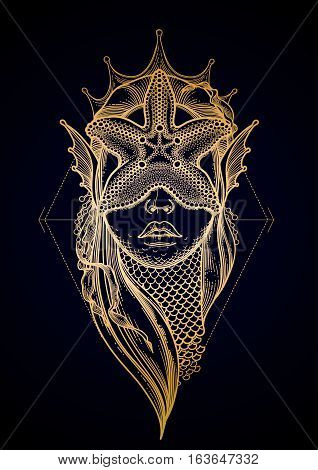 Graphic mermaid head with starfish on her face and seaweed decorations. Tattoo art or t-shirt design. Vector illustration in gold colors
