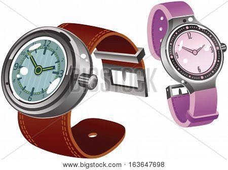 Two different drawings of wrist watches, one male, one female.