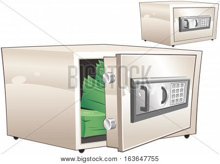 Two drawings of a small modern electronic valuables safe.