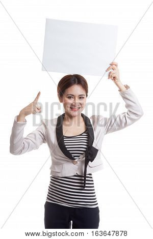 Young Asian Business Woman Point To  Blank Sign.