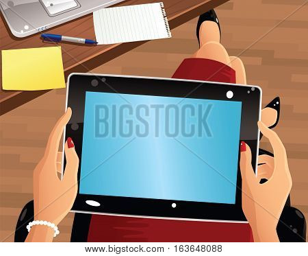 A first person view of a woman holding a computer tablet. Plenty of space for your own message.
