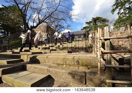 Tourists Visit Matsue Samurai Feudal Castle In Shimane