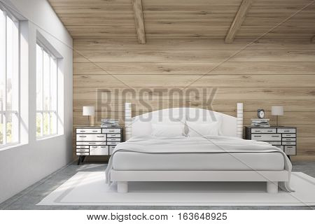Front view of a double bed in a room with wooden walls and ceiling. There are two bedside tables and two large windows. 3d rendering. Mock up. Toned image