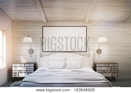 Double Bed In A Wooden Room With Poster, Toned