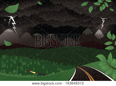 An illustration a thunderstorm at night across a mountainous landscape.