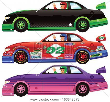 Three different race cars. The generic decal designs on the red car, are on an isolated layer, and can be moved around if so needed.
