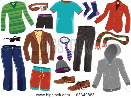 Various items of male clothing including blazer, hooded top and board shorts.