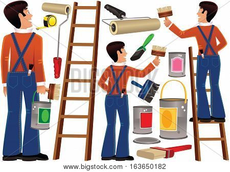 Various drawings of a workman completing some home improvement tasks.