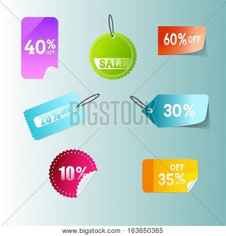 Discount price tags. Sale. Set curved pages. Web Design Element. Vector design. Vector illustration