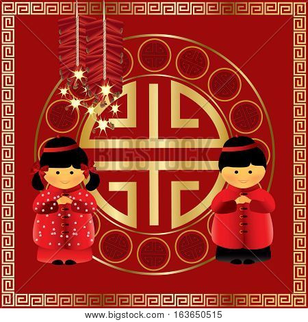 Chinese New Year - Children Greetings on red background