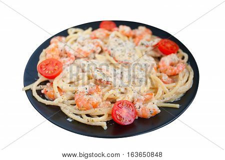 Delicious Spaghetti Pasta With Prawns On Black Plate