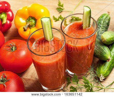 Healthy drink vegetable juice studio shot. Healthy life style food.