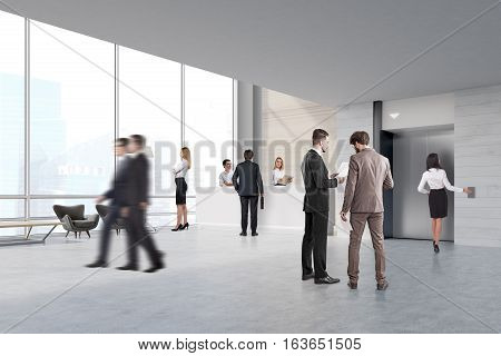 People walking and talking in an elevator hall with a reception counter and two secretaries. 3d rendering.