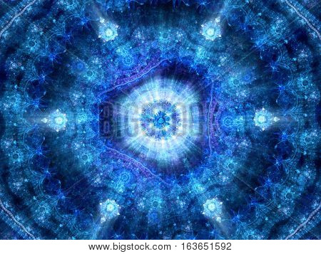 Blue glowing esoteric fractal computer generated abstract background 3D render