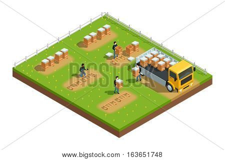 Isometric composition of scene with workers installing hives for beekeeping apiary on grass with flowers vector illustration