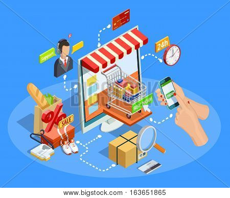 Online shopping with smartphone concept flowchart  isometric e-commerce poster with customer support chat service vector illustration