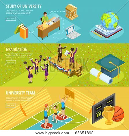 University education 3 horizontal isometric banners with information on study choice sport and graduation isolated vector illustration